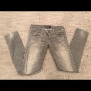 Hudson gray distressed skinnies